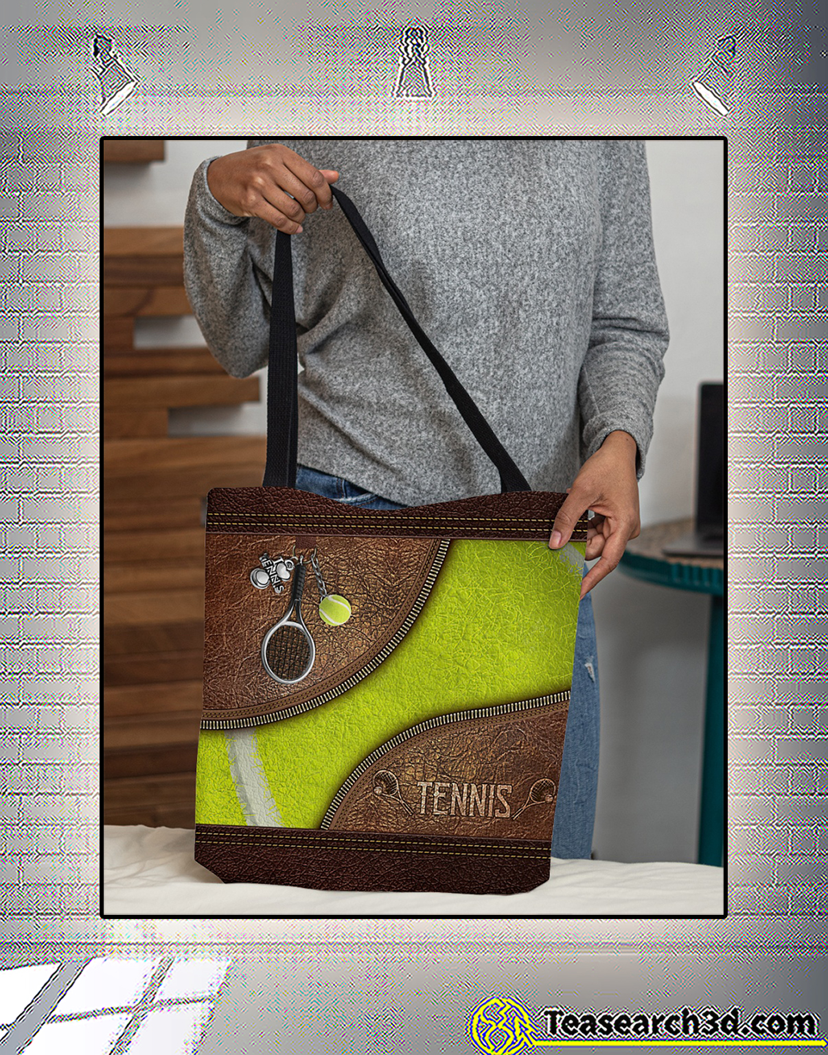 Tennis leather pattern print all-over tote bag 2
