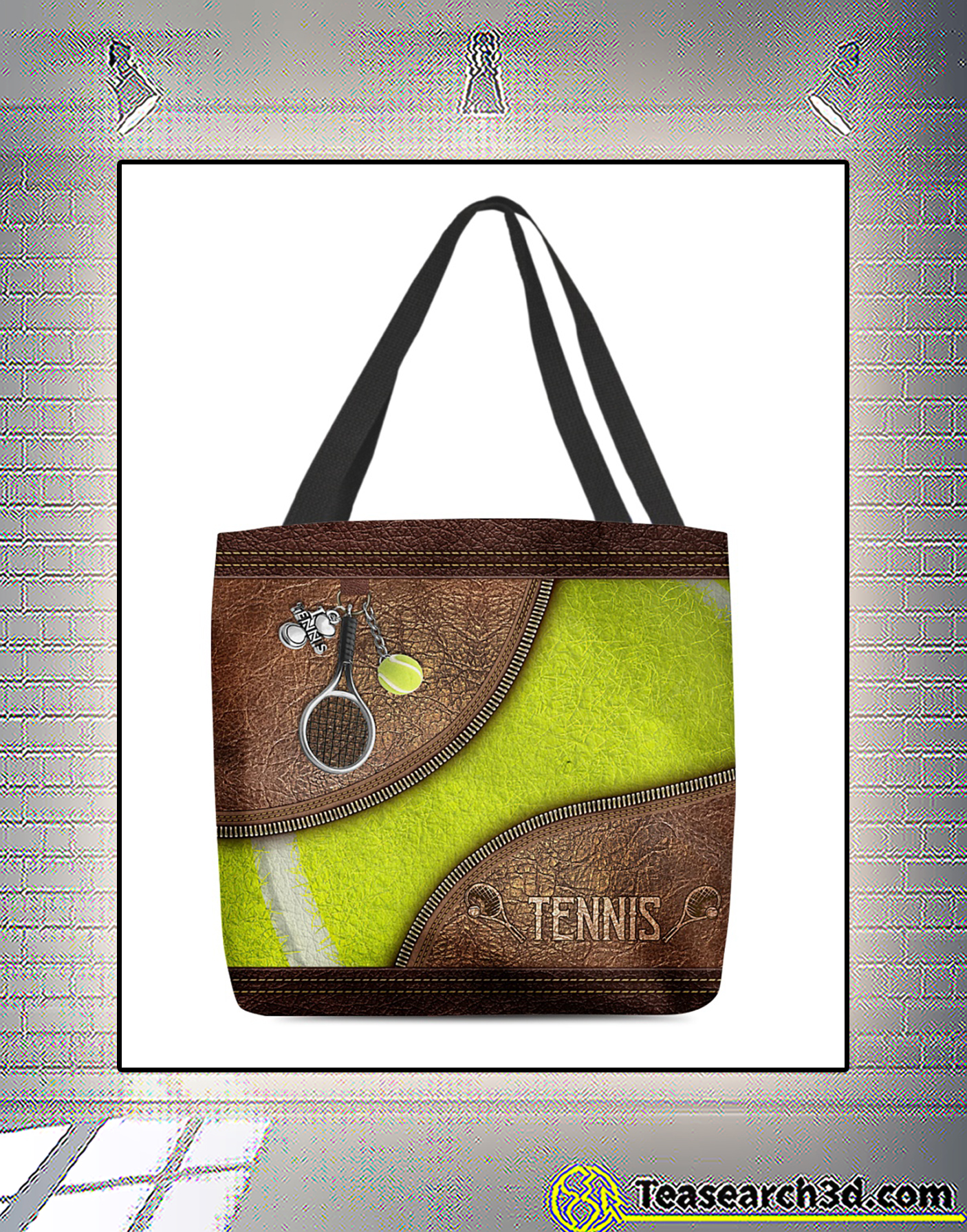 Tennis leather pattern print all-over tote bag