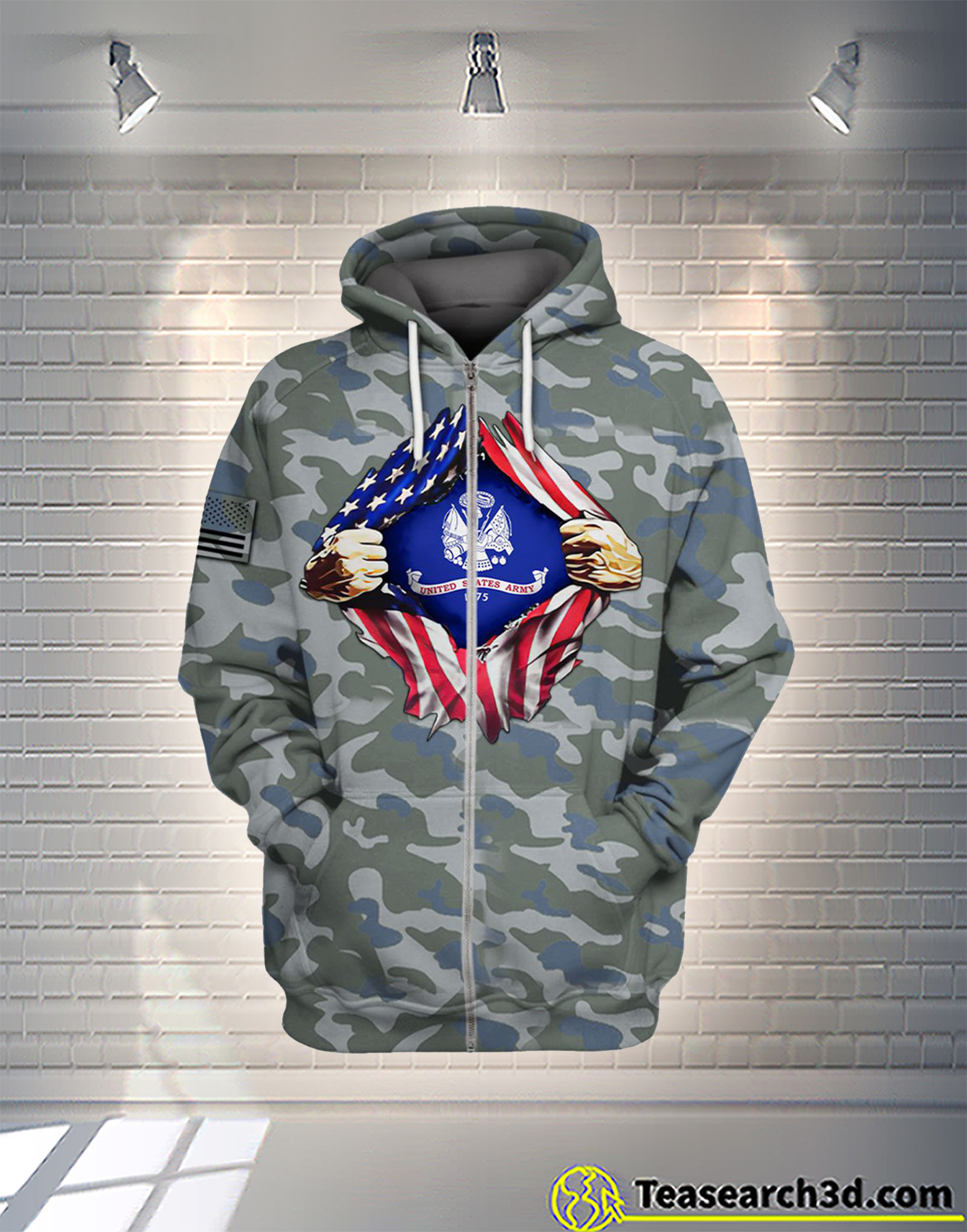 United States Army camo all over printed zip hoodie