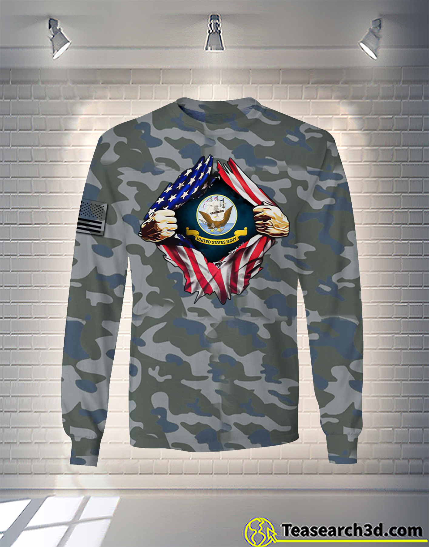 United States Navy camo all over printed long sleeve