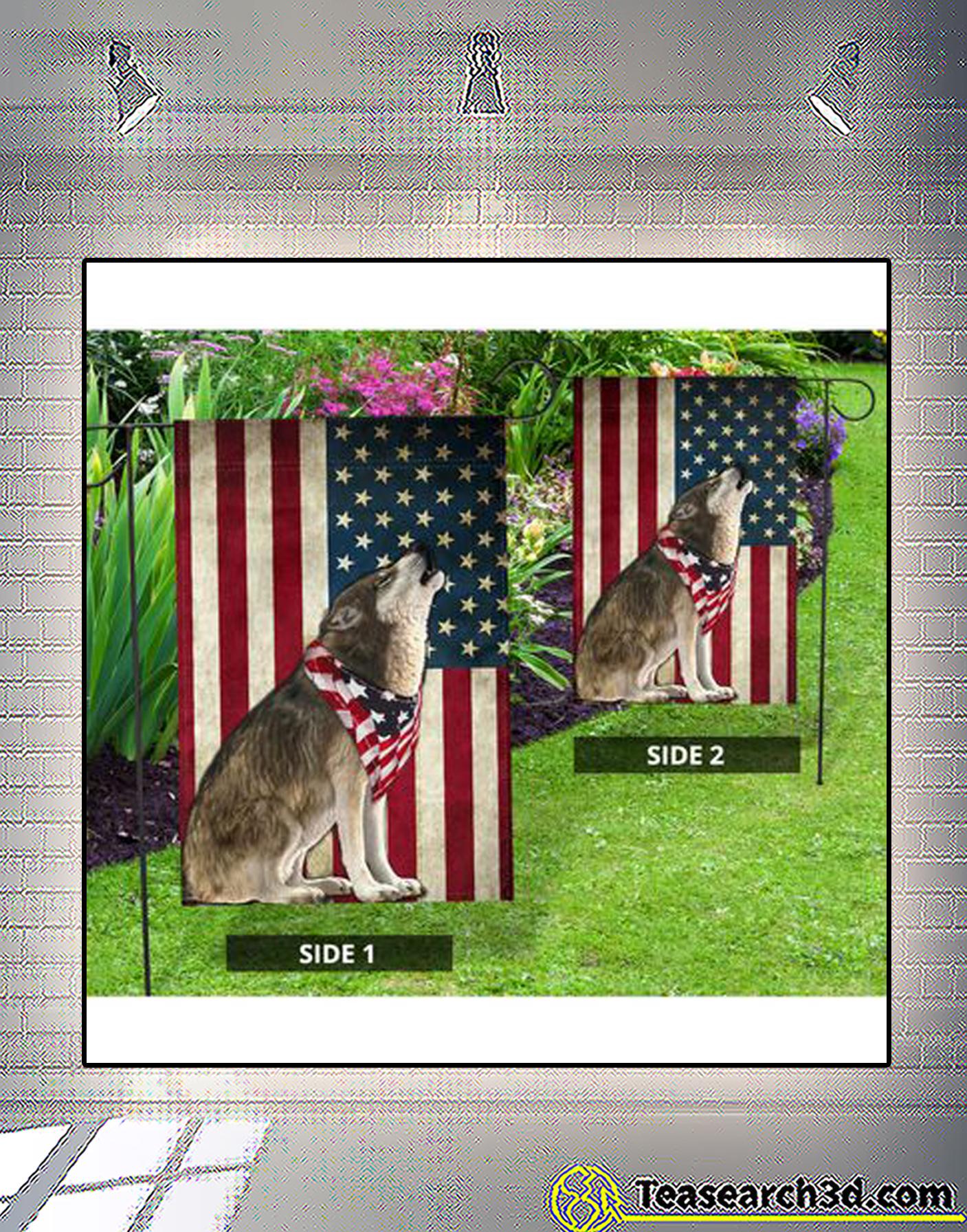Wolf american flag
