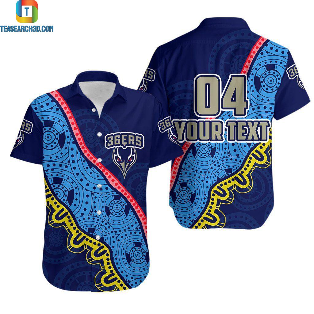 Adelaide 36ers indigenous blue personalized custom name hawaiian shirt