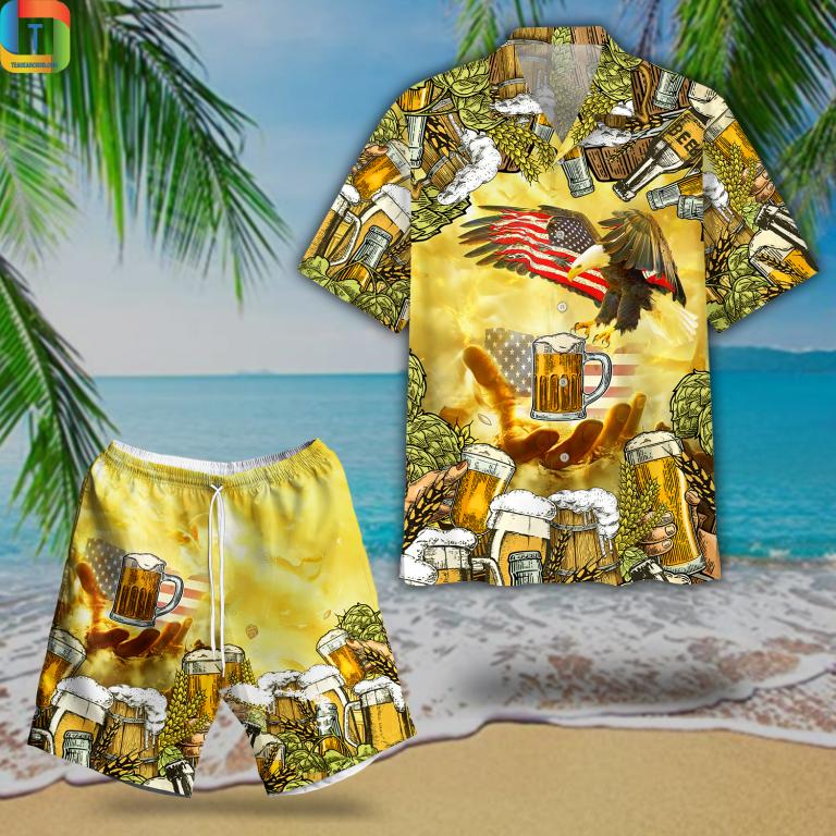 American Eagles And Beer Hawaiian Shirt Beach Short