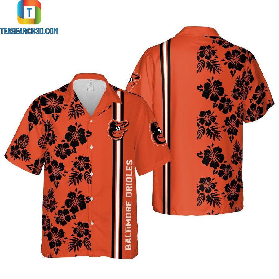 Baltimore orioles floral mlb baseball hawaiian shirt