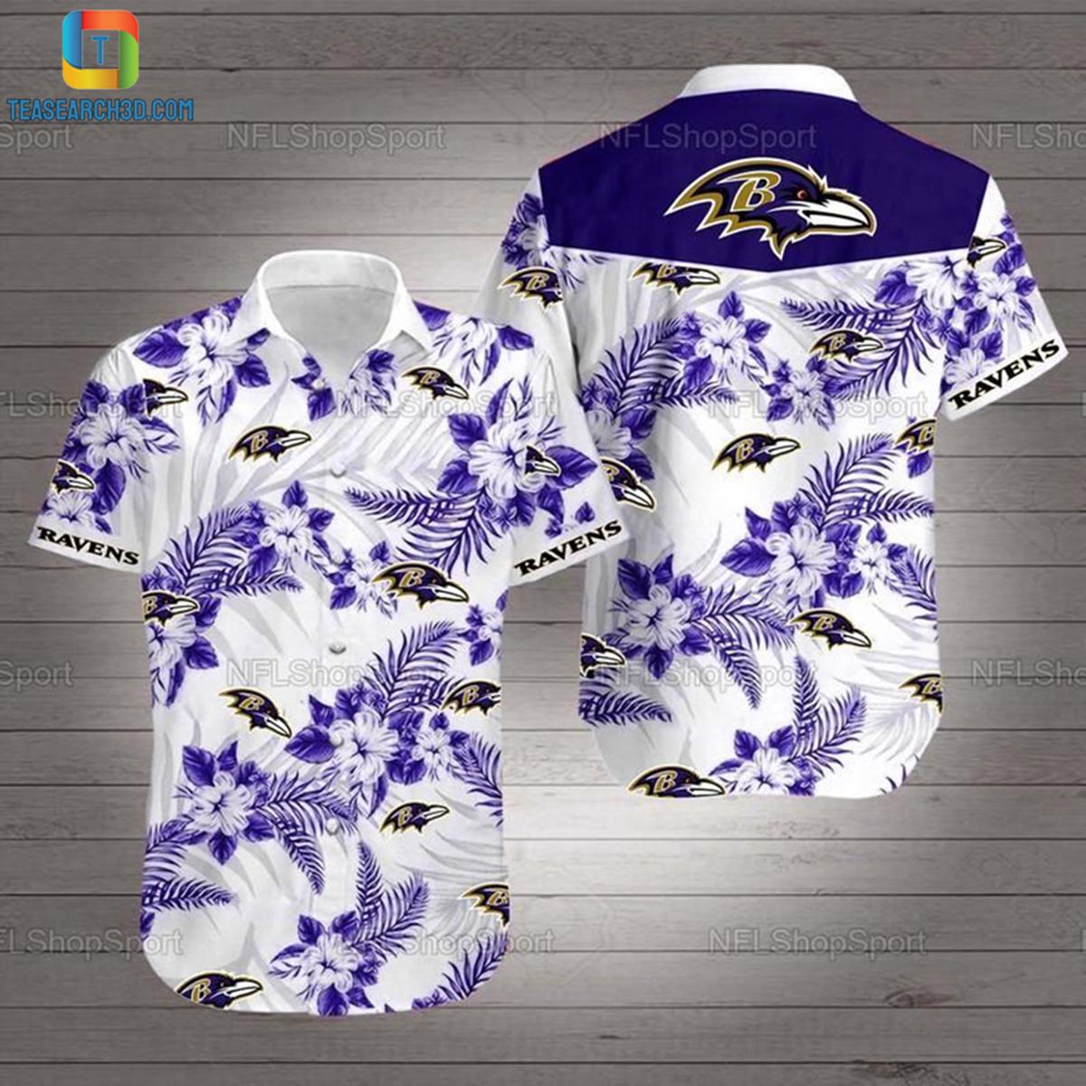 Baltimore ravens hibiscus nfl football hawaiian shirt 2