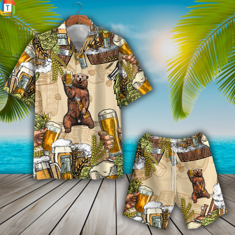 Bear And Beer Hawaiian Shirt Beach Short