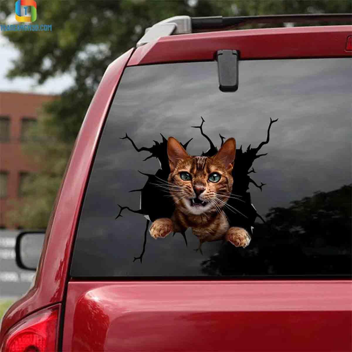 Bengal cat crack car decal sticker 1