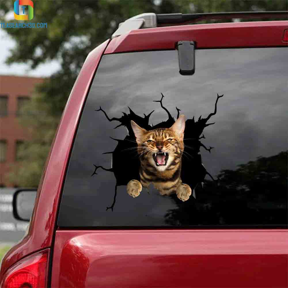 Bengal cat crack car sticker cats lover