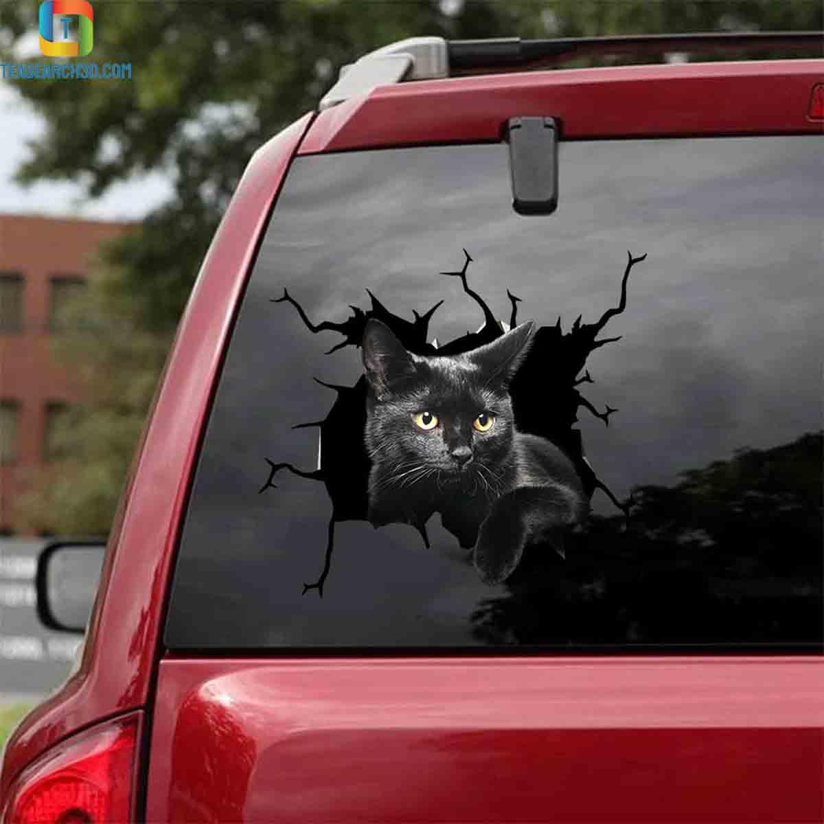 Black cat crack car decal sticker 1