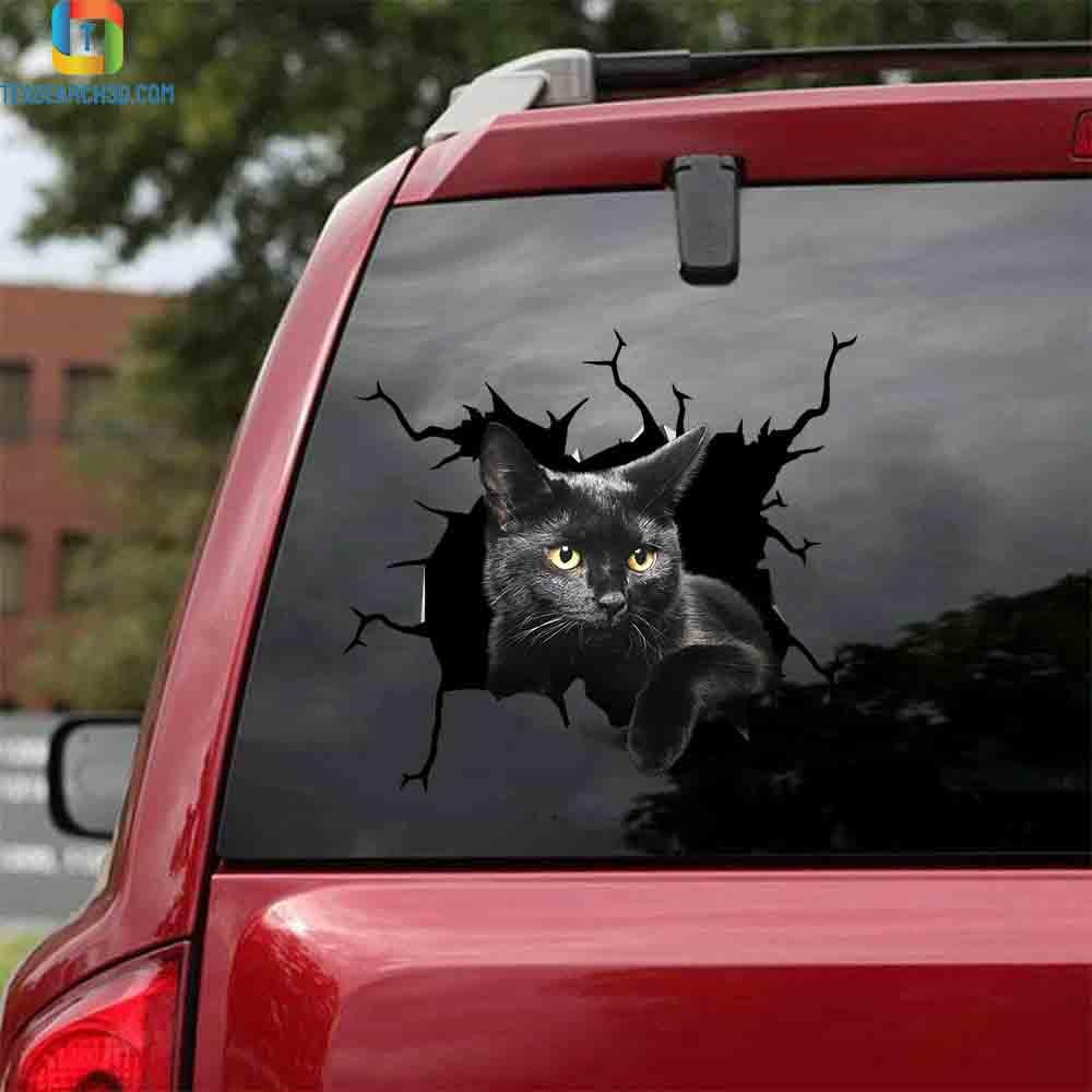 Black cat crack car decal sticker