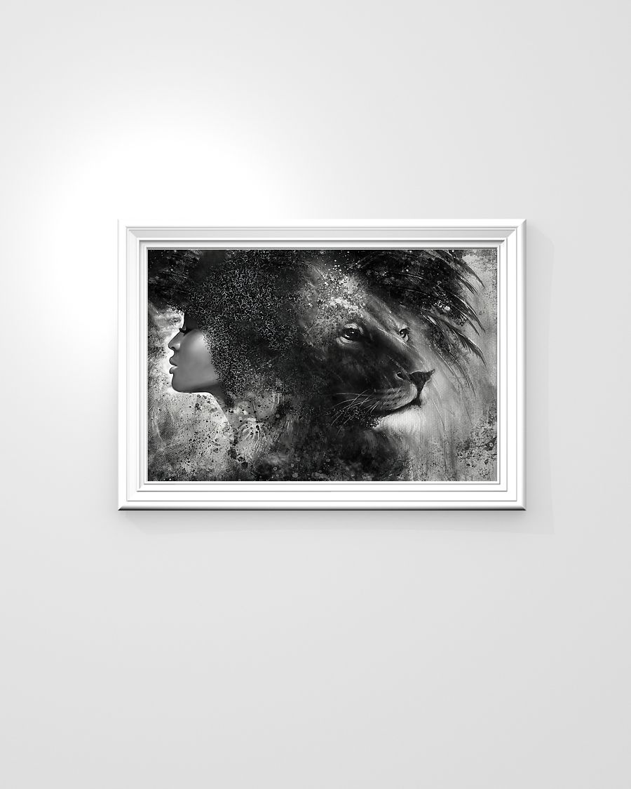 Black girl with lion poster A1
