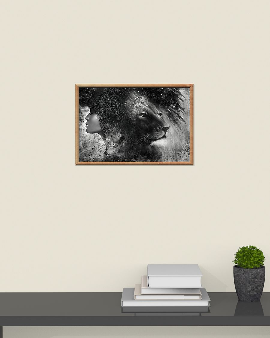 Black girl with lion poster A2