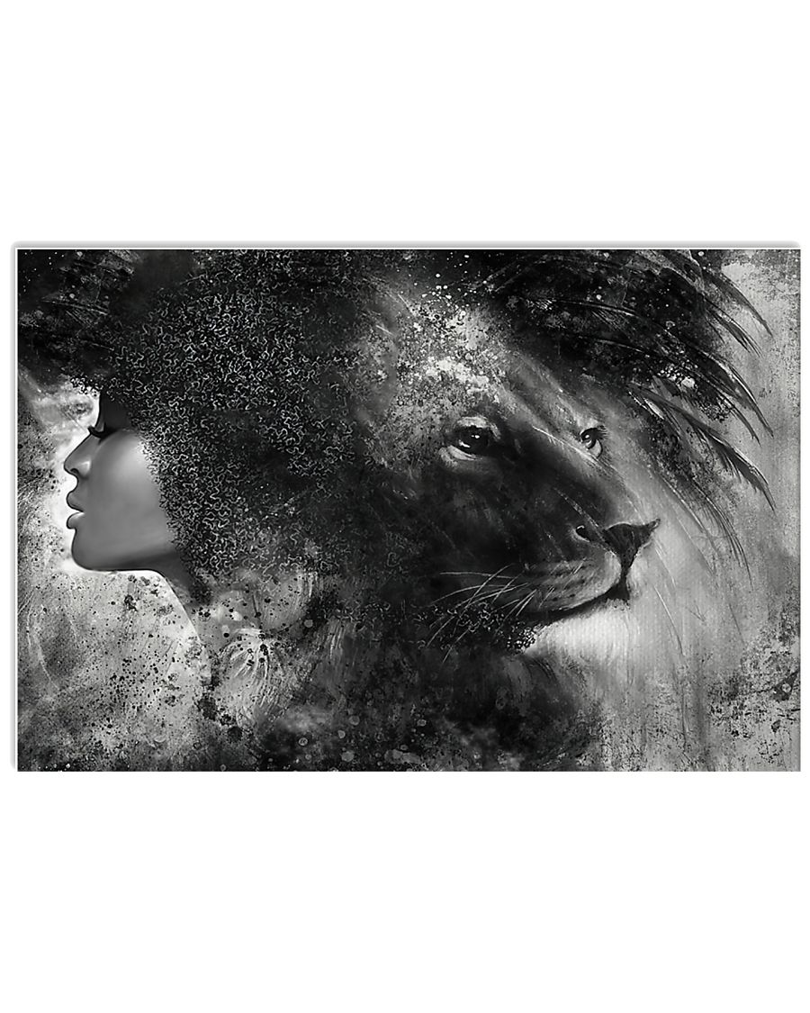 Black girl with lion poster A3