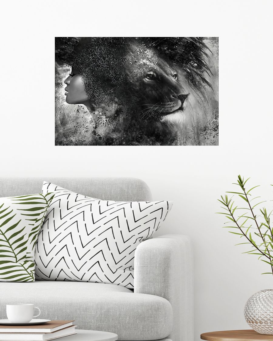 Black girl with lion poster