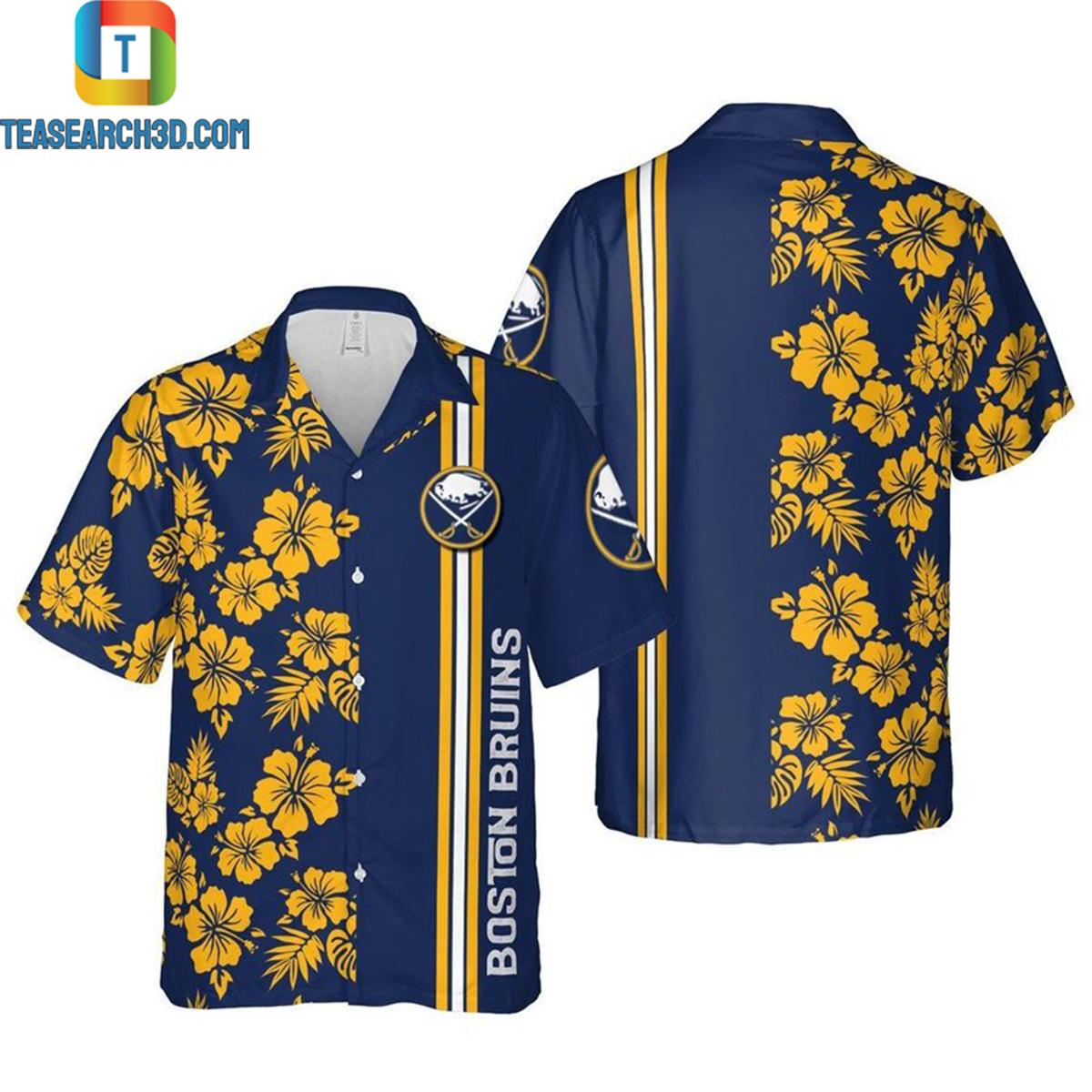 Boston bruins floral ice hockey hawaiian shirt 2