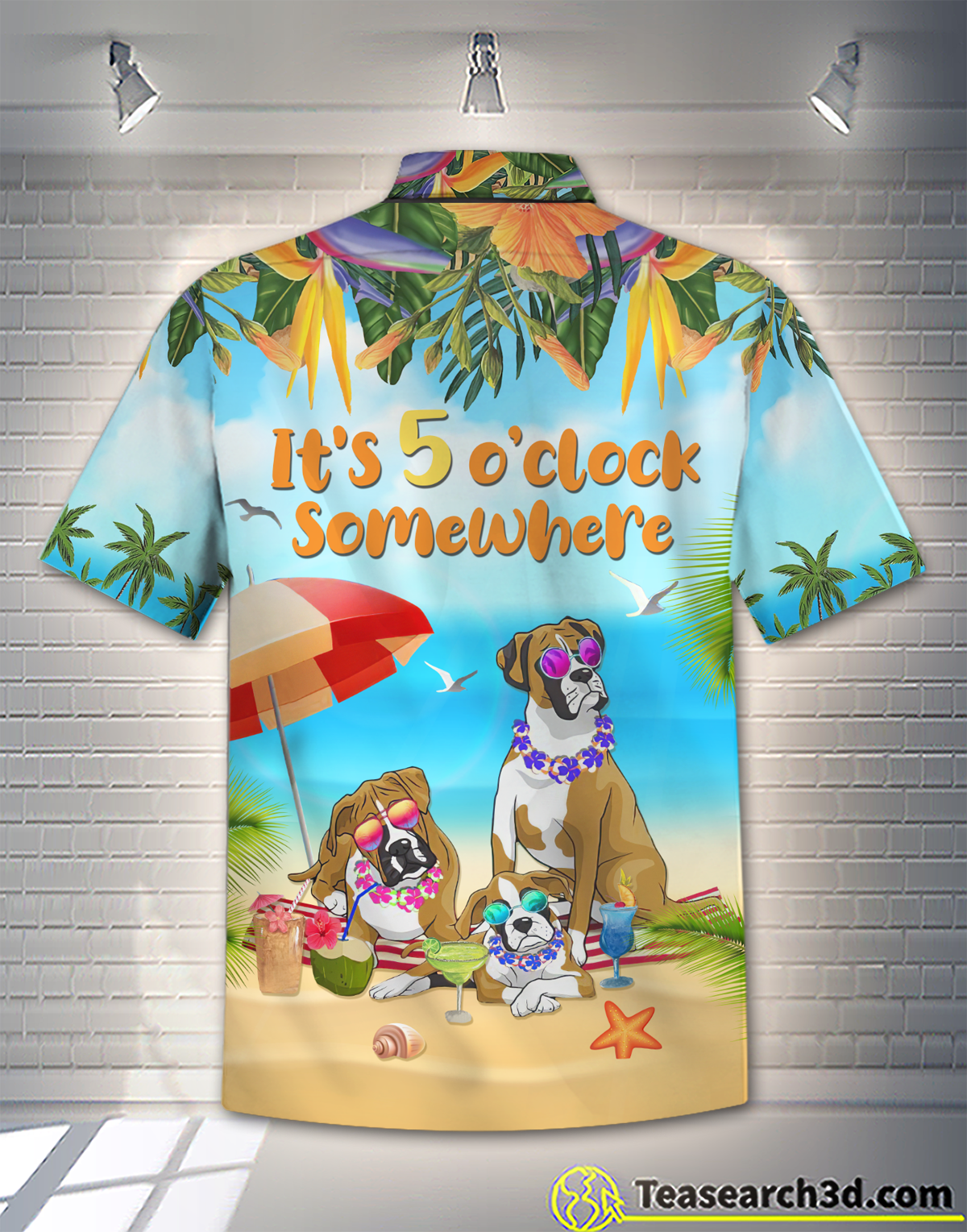 Boxer Dog Beach It's 5 O'clock Somewhere Hawaiian Shirt 1