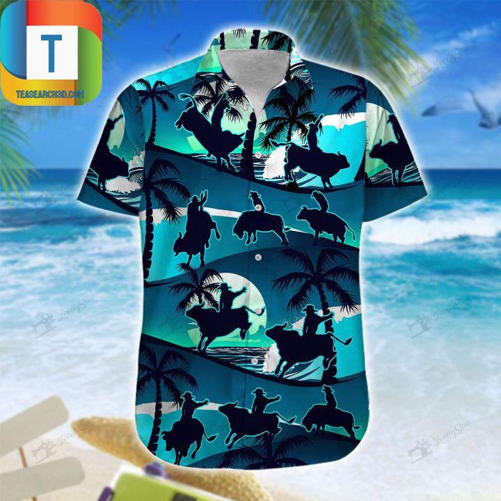 Bull riding blue sea hawaiian shirt