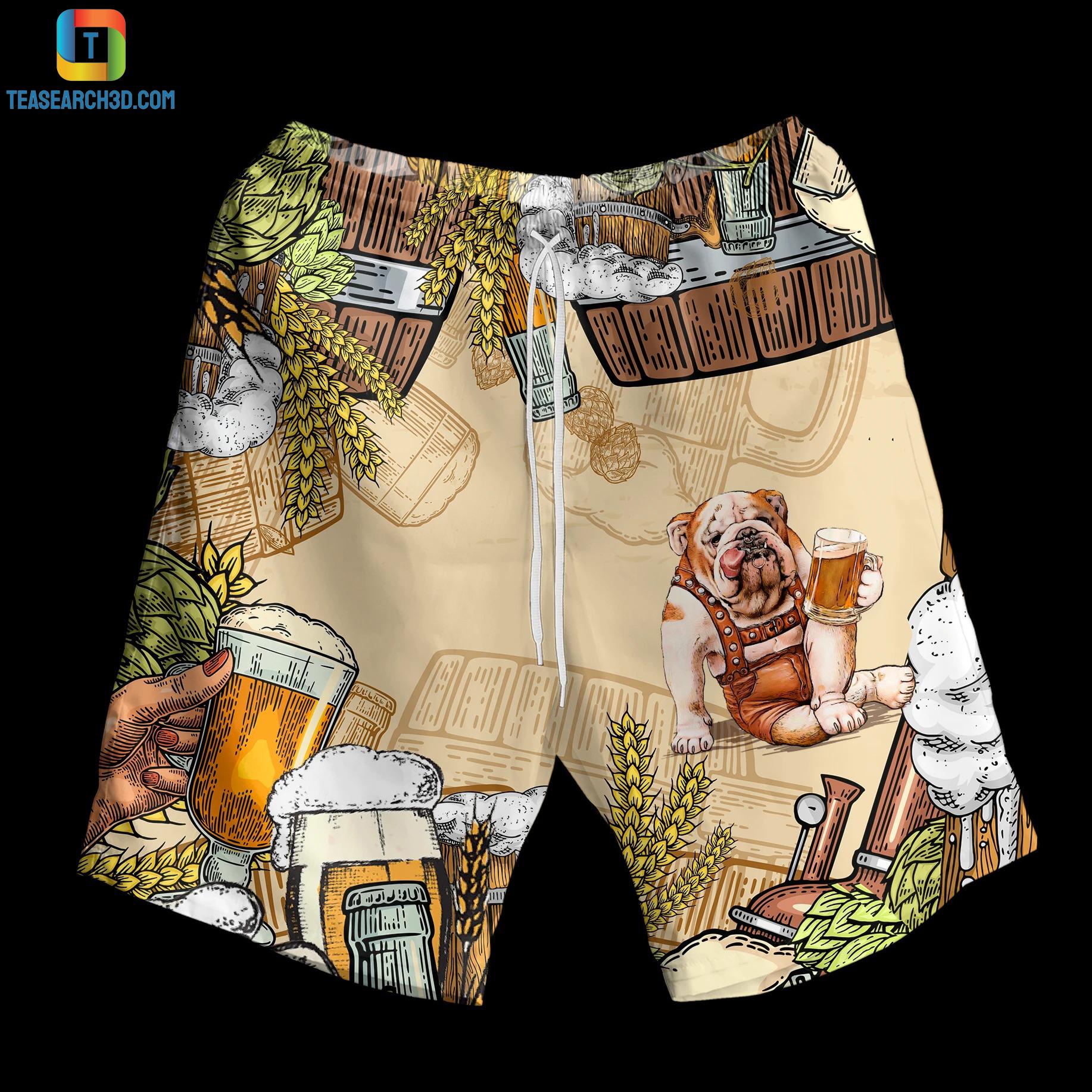 Bulldog beer hawaiian shirt and short