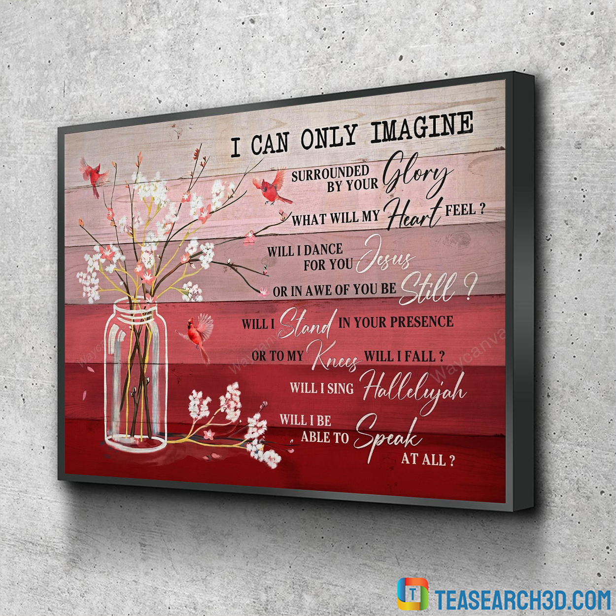Cardinal and flower I can only imagine jesus canvas small