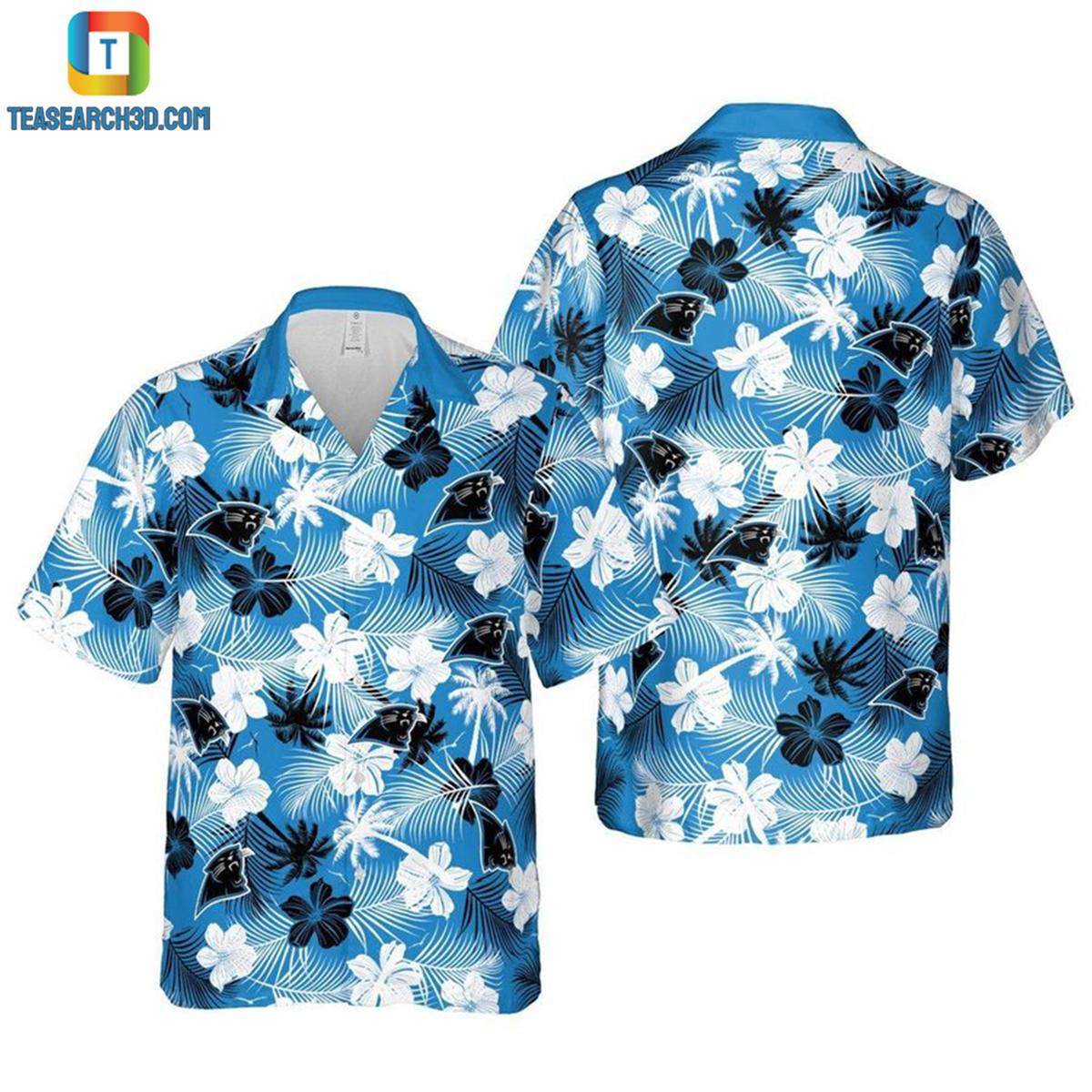 Carolina panthers floral nfl football hawaiian shirt 2