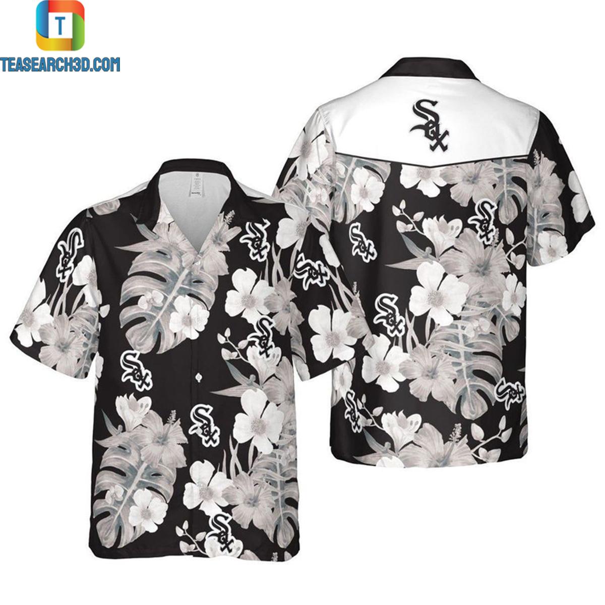 Chicago white sox floral mlb baseball hawaiian shirt 2