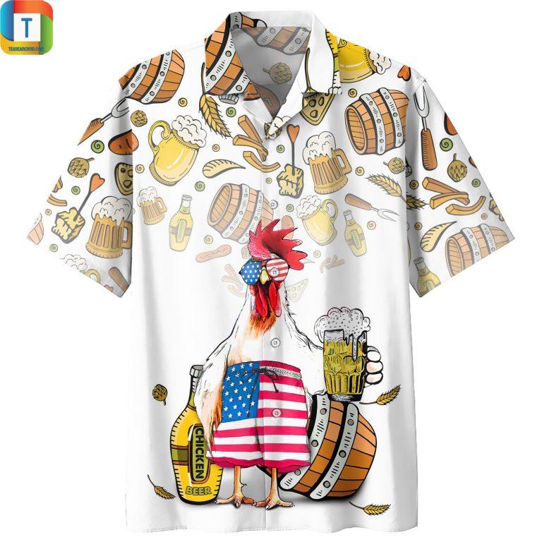 Chicken Beer Pattern Hawaiian Shirt Beach Short