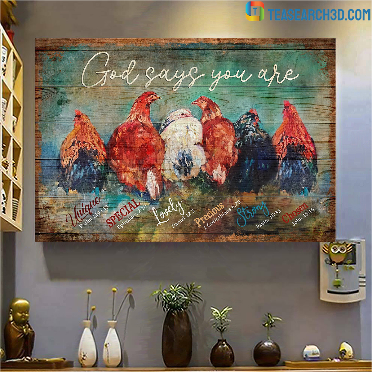 Awesome Chickens god says you are jesus canvas