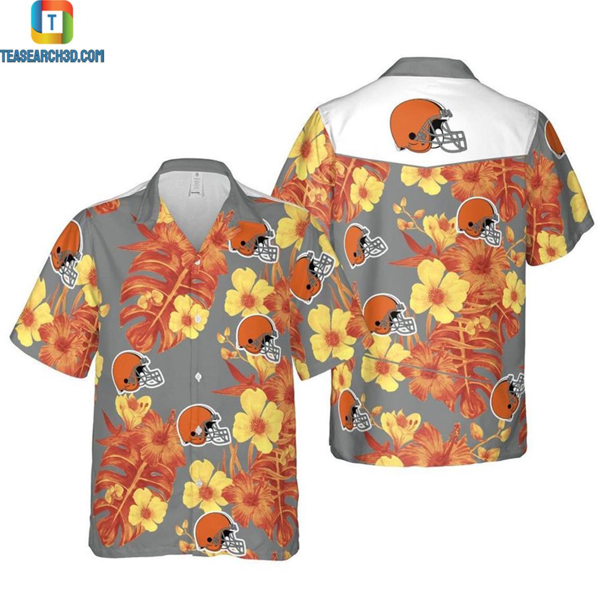Cleveland browns floral nfl football hawaiian shirt 2