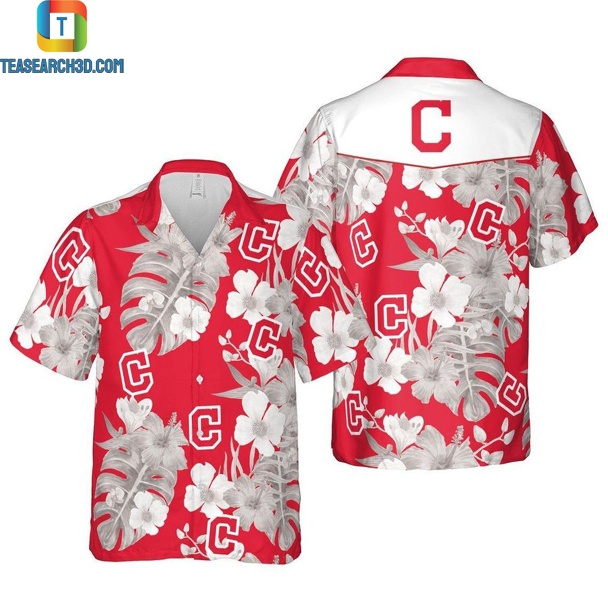 Cleveland indians floral mlb baseball hawaiian shirt 2