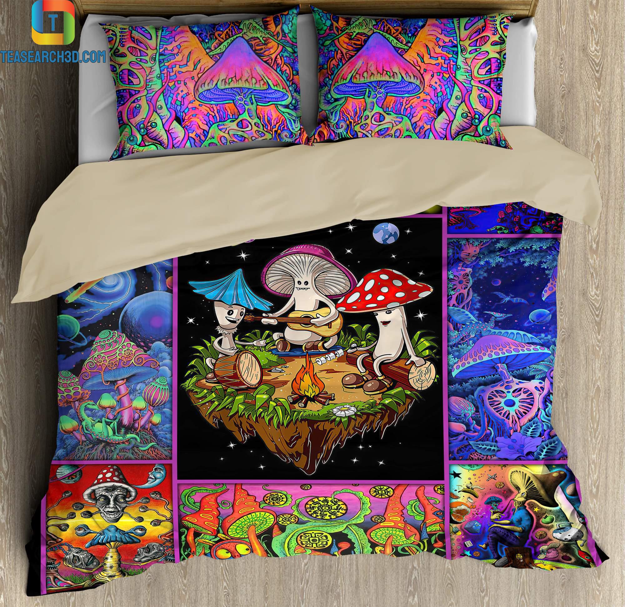 Colorful mushroom hippie bedding set 1