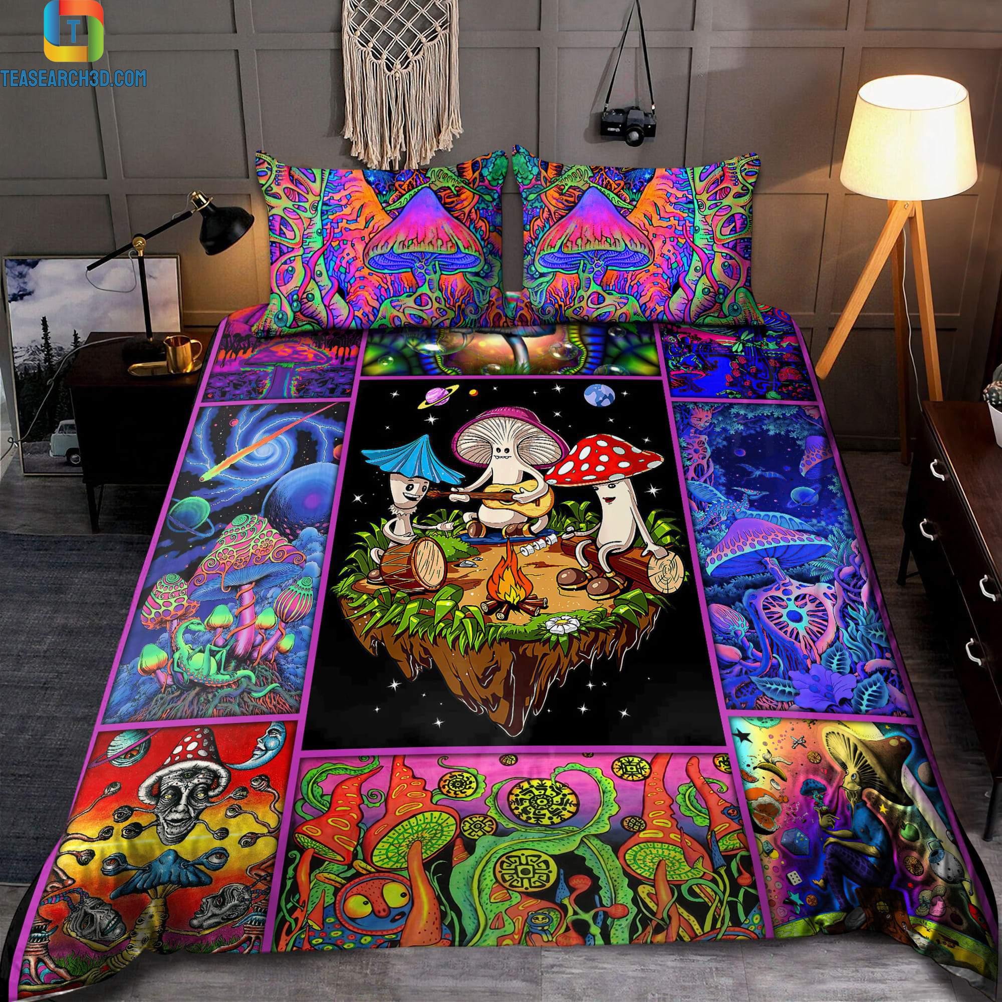 Colorful mushroom hippie bedding set 2