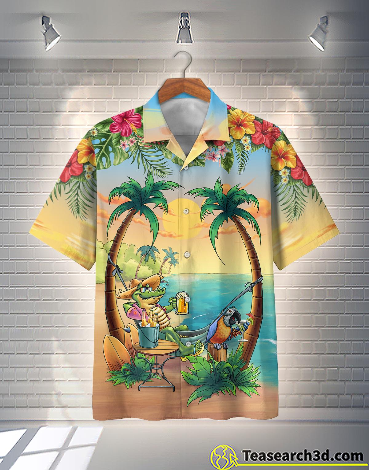 Crocodile On the Beach Hawaiian Shirt