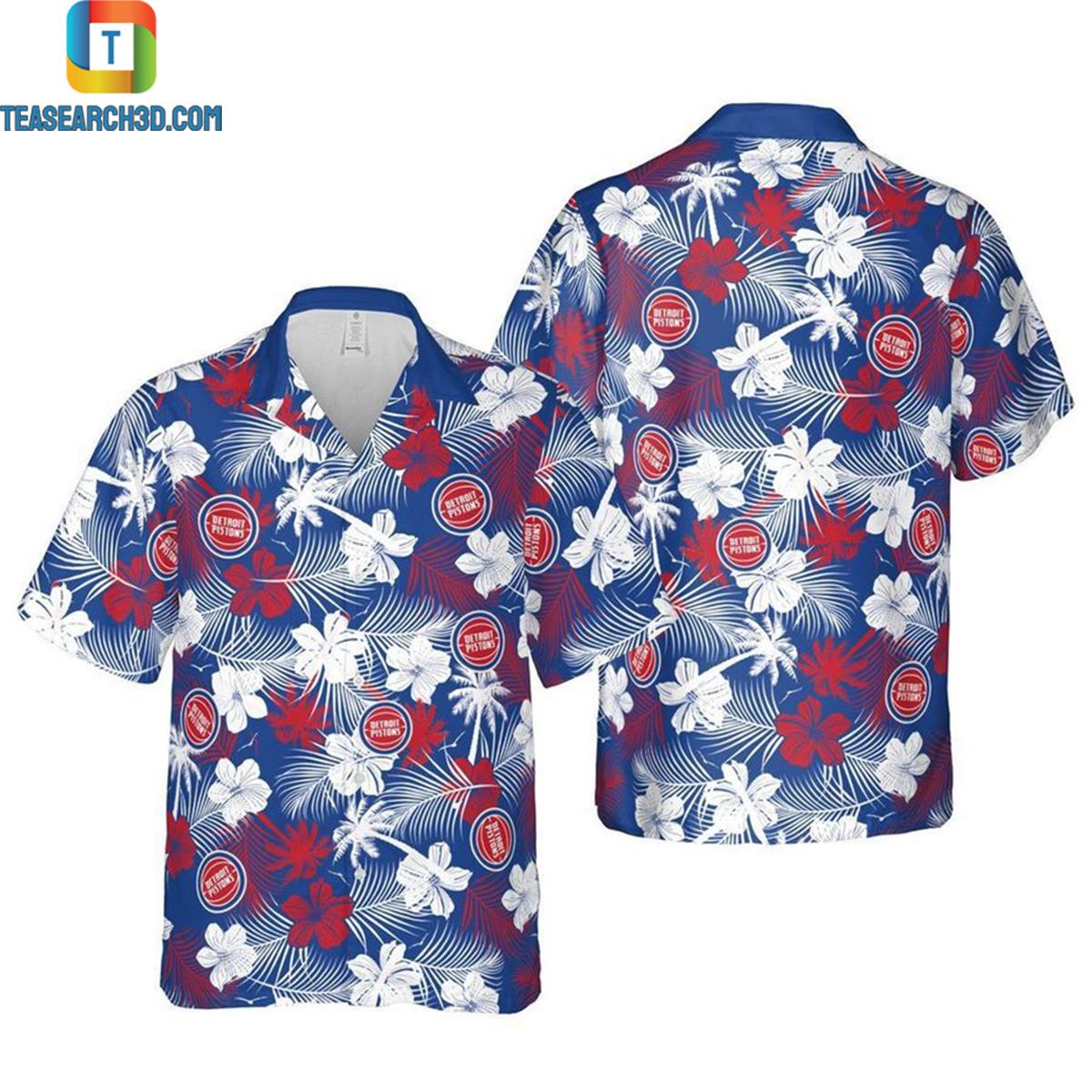 Detroit pistons floral nba basketball hawaiian shirt 2