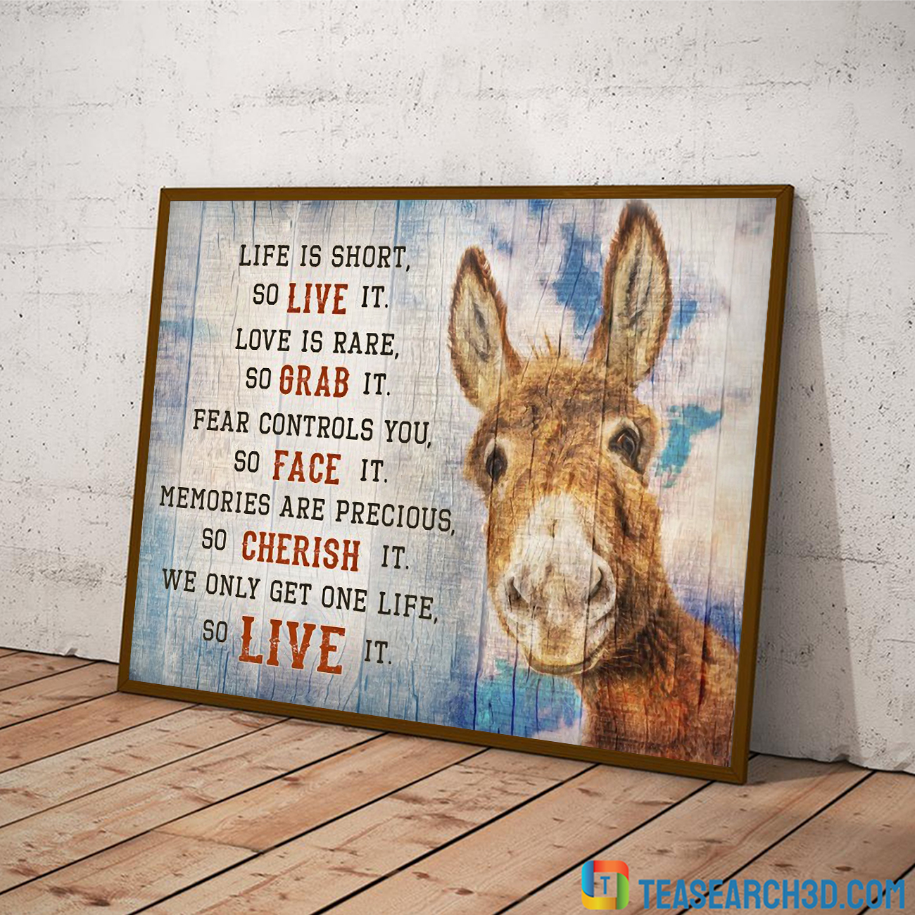 Donkey live is short so live it canvas large