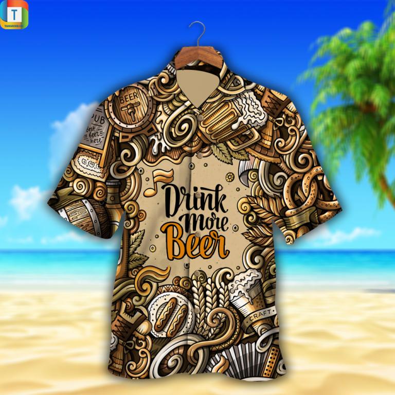 Drink more beer craft hawaiian shirt beach short