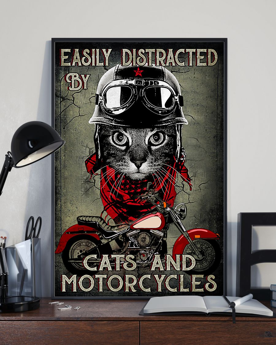 Easily distracted by cats and motorcycles poster A1