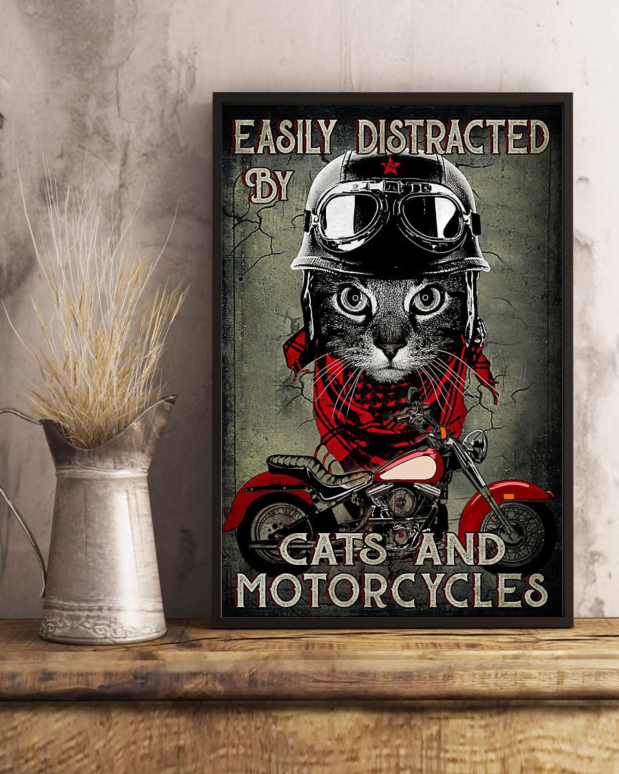 Easily distracted by cats and motorcycles poster A2