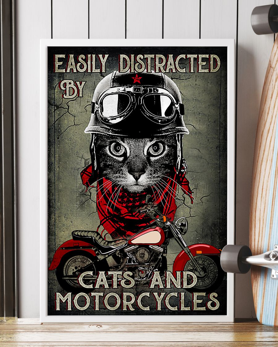 Easily distracted by cats and motorcycles poster A3