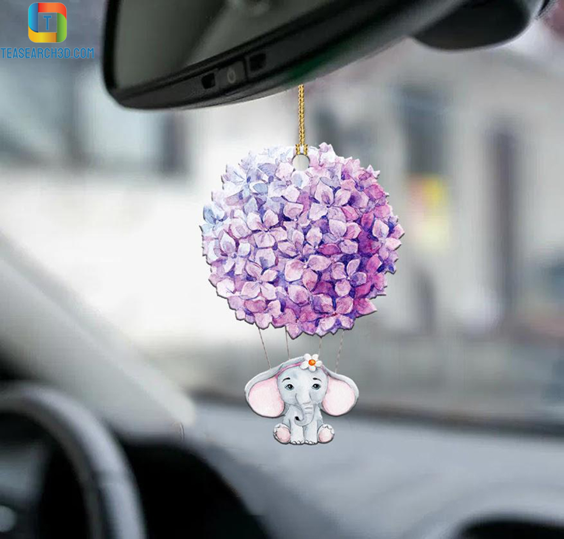 Elephant hydrangeas car hanging ornament 1