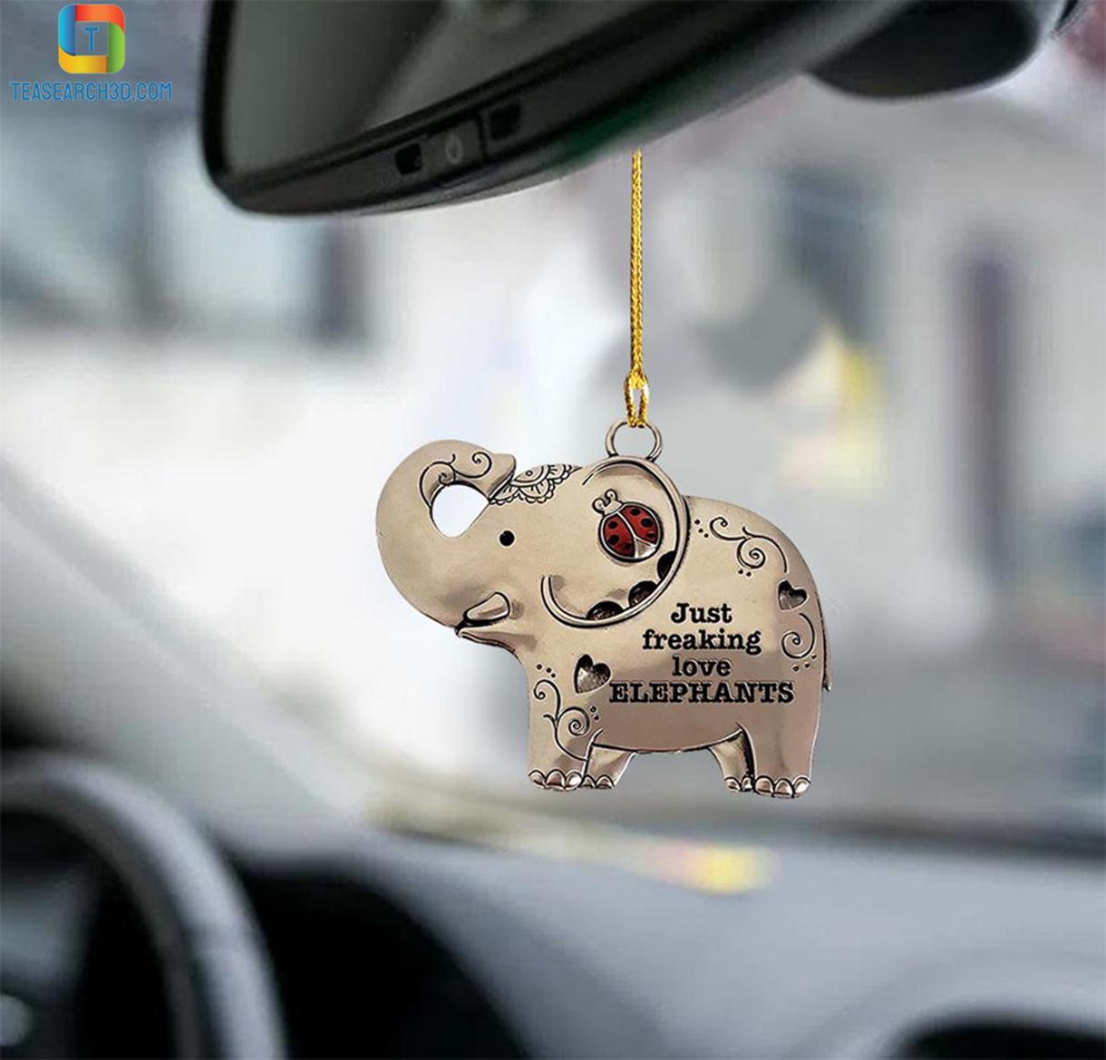 Elephant just freaking love elephants car hanging ornament 2