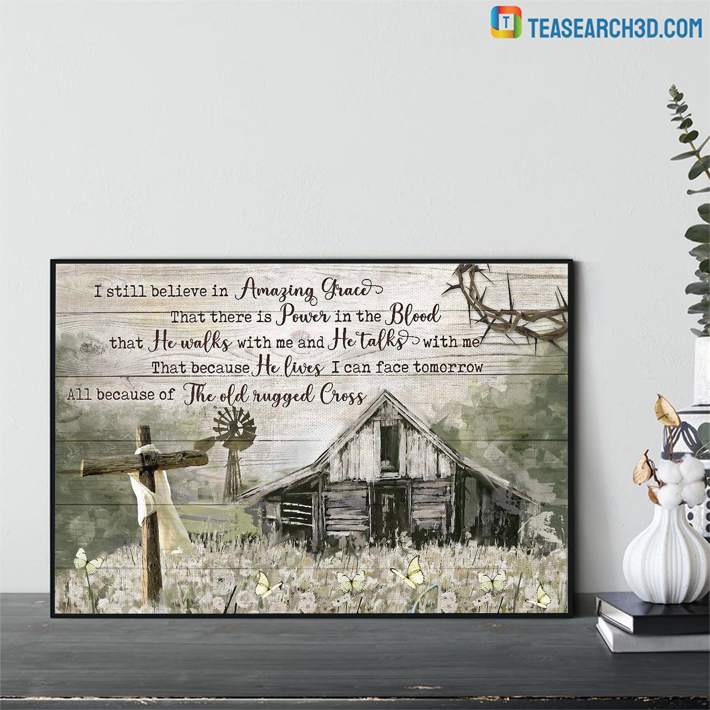 Farmhouse I still believe in amazing grace jesus canvas prints small