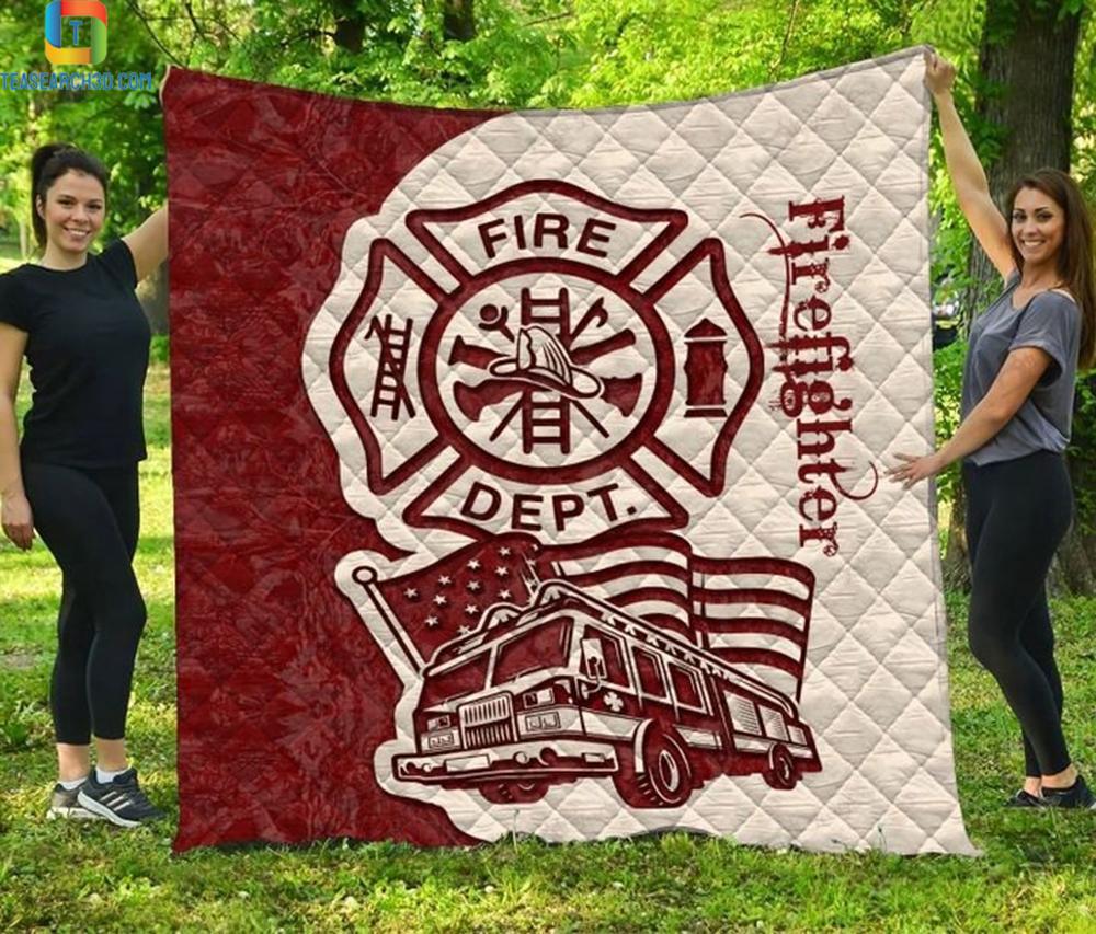 Firefighter fire truck quilt bed set 1
