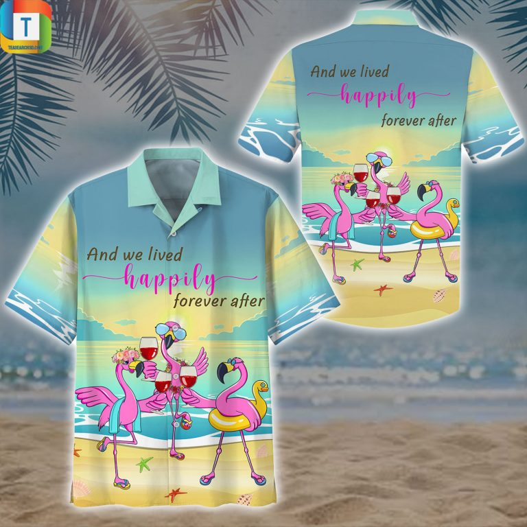 Flamingo And We Lived Happily Forever After Hawaiian Shirt Beach Short