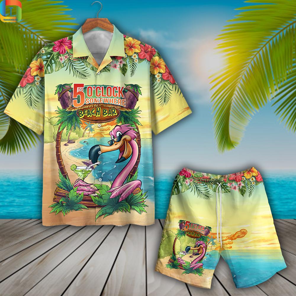 Flamingo Beach Bar It's 5 O'clock Somewhere Hawaiian Shirt And Short
