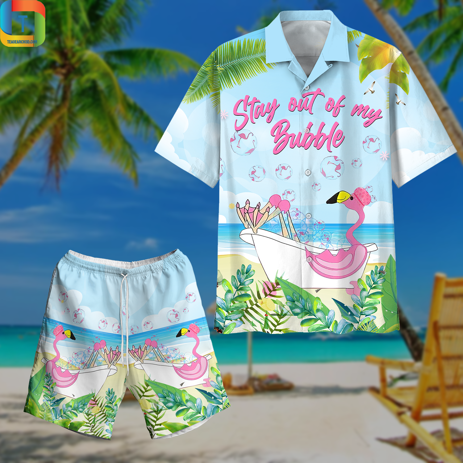 Flamingo Stay Out Of My Bubble Hawaiian Shirt And Short