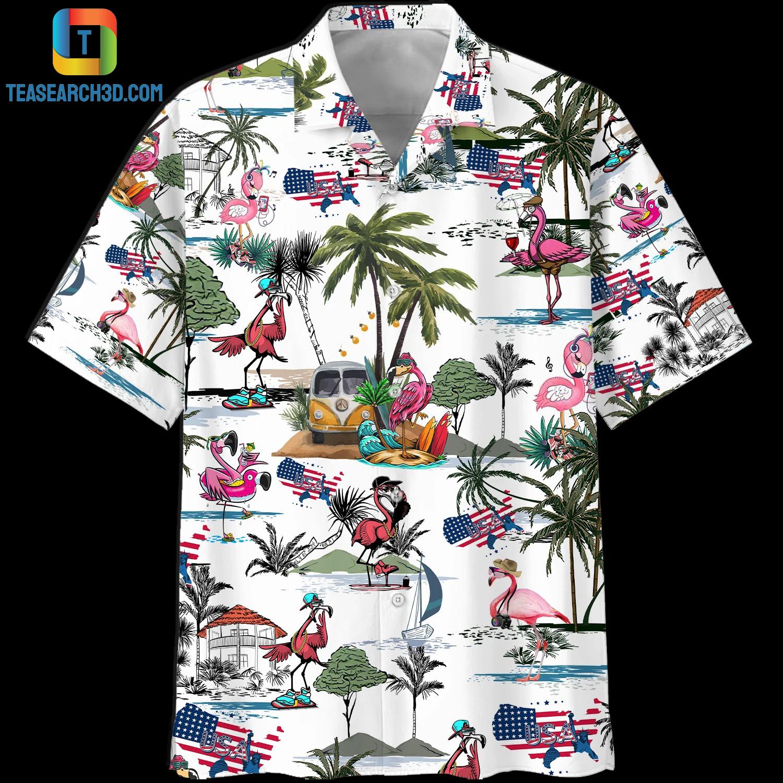 Flamingo style beach hawaiian shirt 1