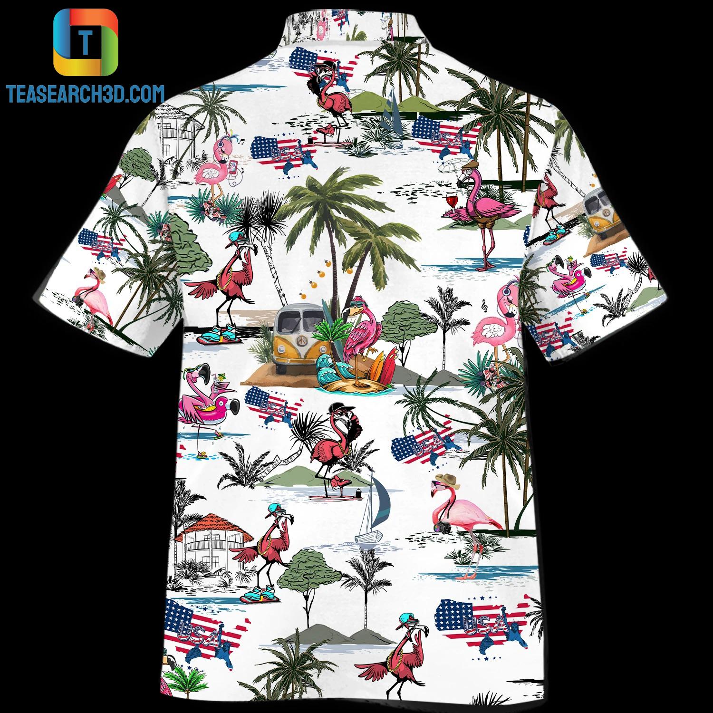 Flamingo style beach hawaiian shirt 2
