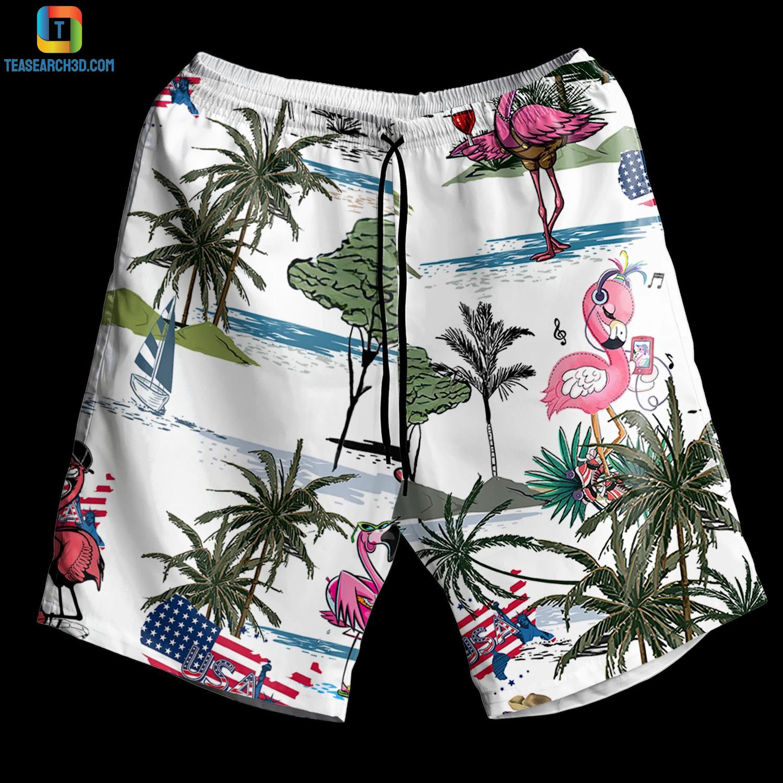 Flamingo style beach hawaiian short