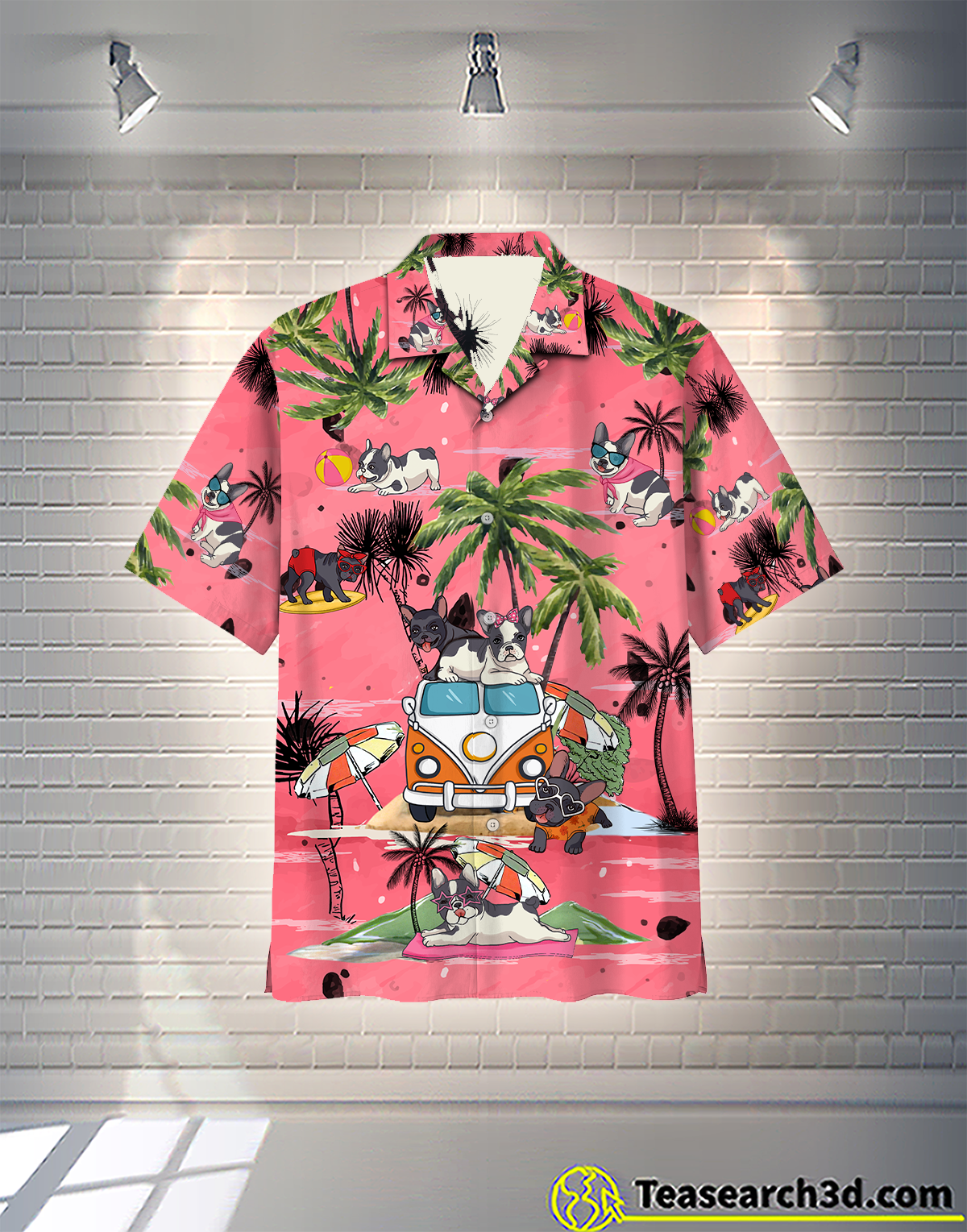 French Bulldog Summer Beach Hippie Car Hawaiian Shirt