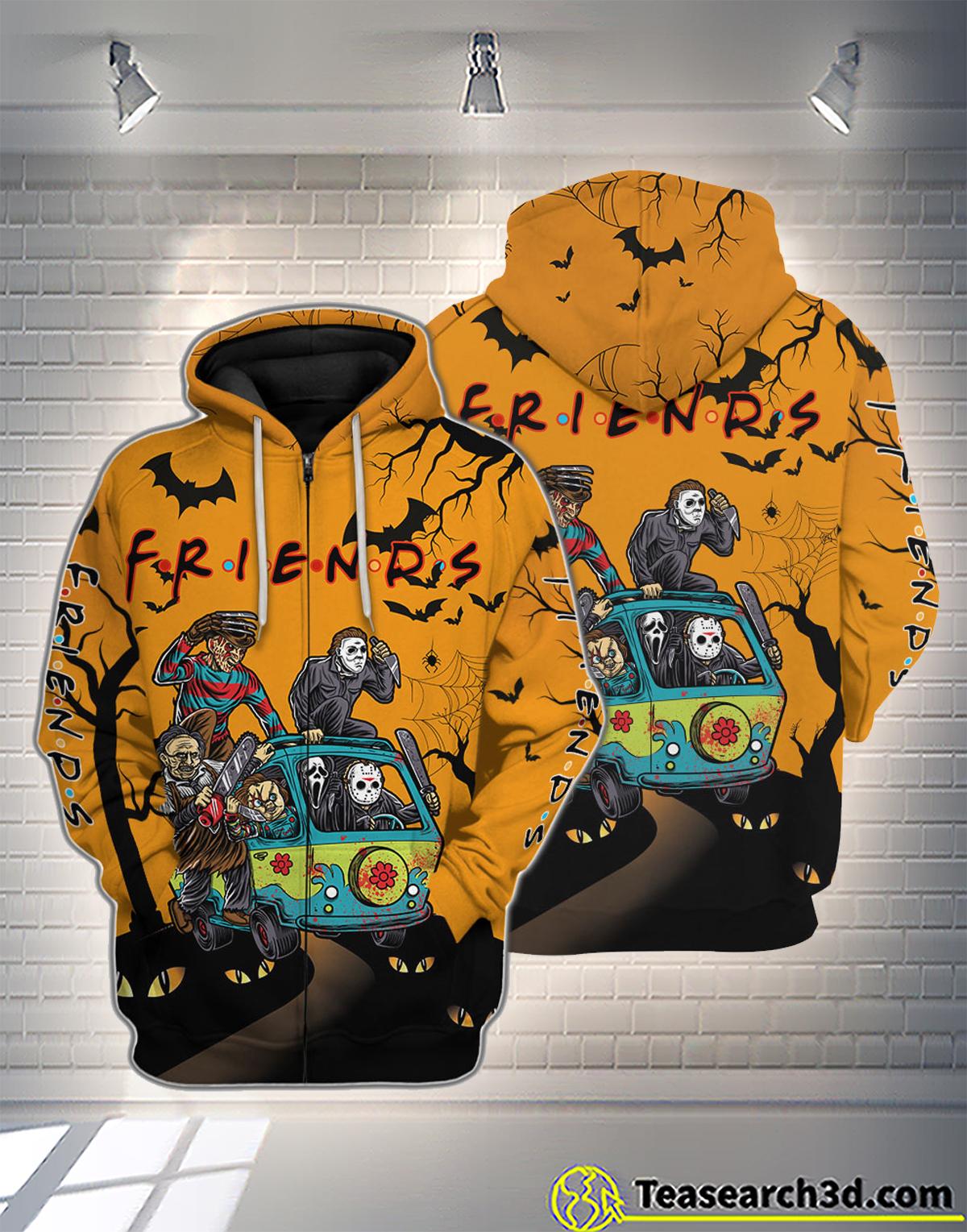 Friend horror halloween 3D all over printed zip hoodie